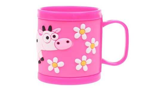obrázok Hrnček detský plastový (ružový kravička)