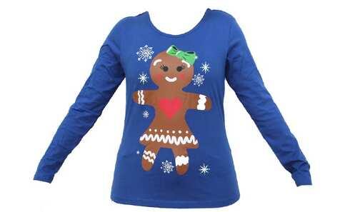 obrázek Dámské tričko vánoční modrével.M