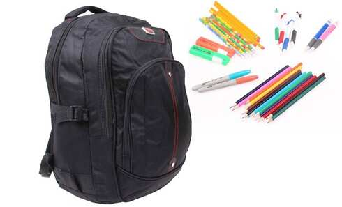 obrázok Batoh čierny s náplňou školských potrieb typ A