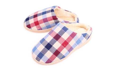 obrázek Pantofle domácí látkové s gumovou podrážkou