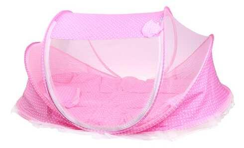 obrázek Dětská skládací postýlka - moskytiéra růžová