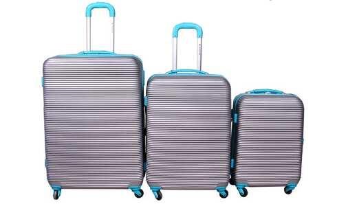 Cestovní kufr skořepinový na kolečkách sada 3ks stříbrný
