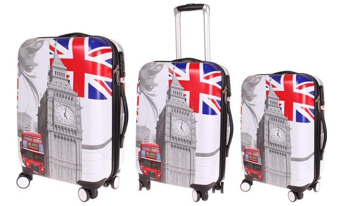 Sada 3 skořepinových kufrů (London)