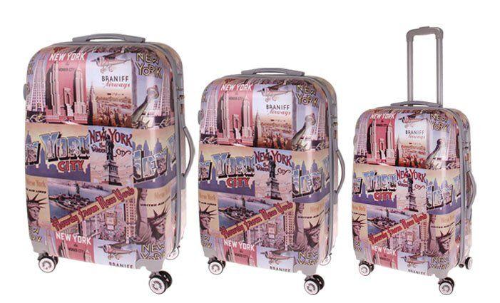 Sada 3 skořepinových kufrů (New York)