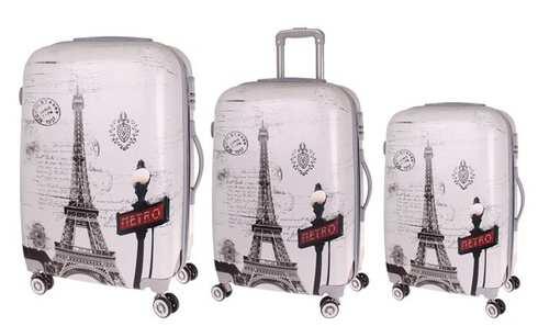 obrázok Sada 3 škrupinových kufrov (Eiffelovka)