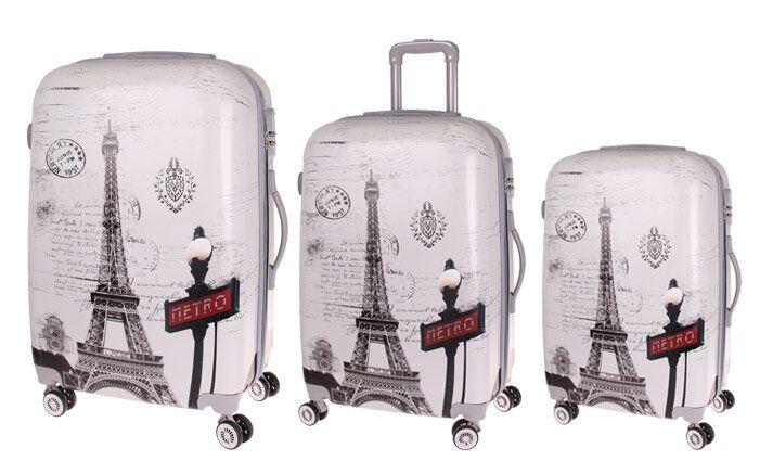Sada 3 skořepinových kufrů (Eiffelovka)