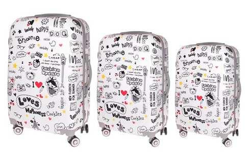 obrázek Sada 3 skořepinových kufrů (nápisy)