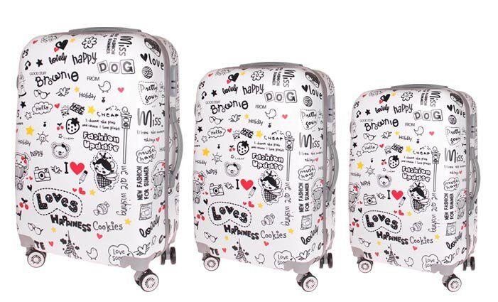 Sada 3 skořepinových kufrů (nápisy)