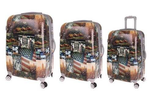 obrázek Sada 3 skořepinových kufrů (Amerika)