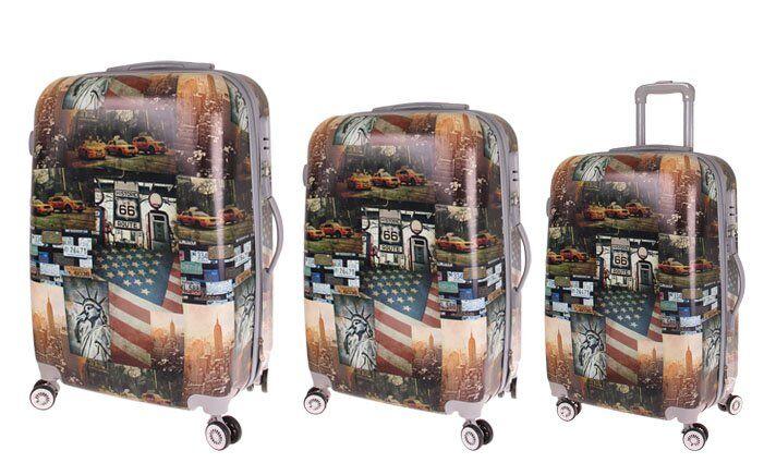 Sada 3 skořepinových kufrů (Amerika)