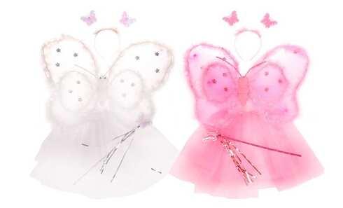 Kostým motýlek růžová/bílá