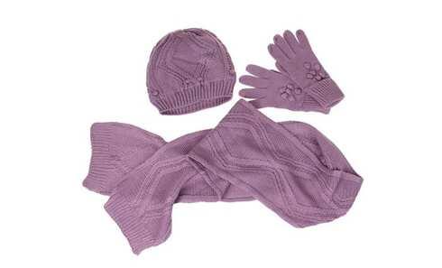 obrázok Detský pletený set šál, rukavice a čiapky fialová