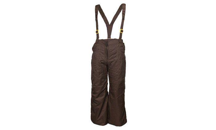 Zateplené dívčí kalhoty s kšandami hnědé