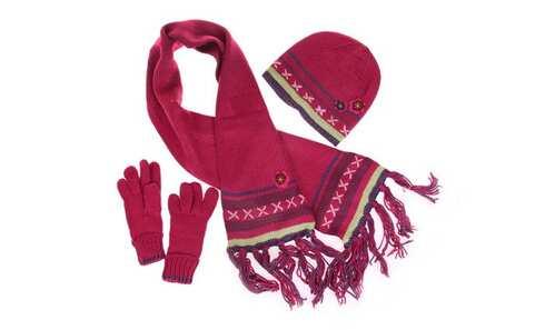 obrázek Dětský pletený set fialovo růžový vel. XL