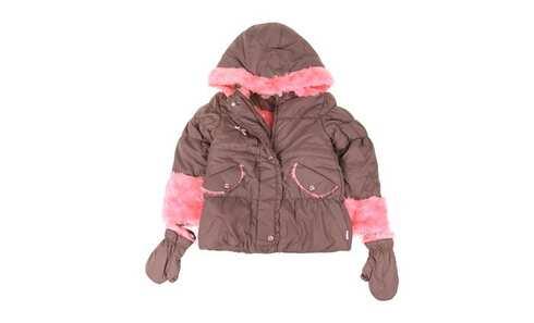 obrázek Dívčí bunda s kožíškem khaki/růžová vel. 98