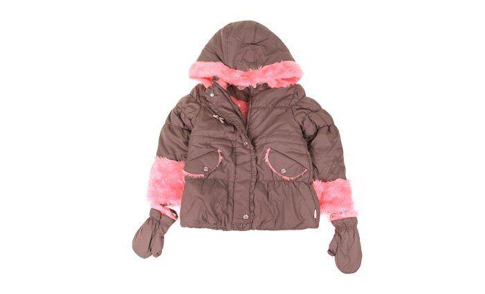 Dívčí bunda s kožíškem khaki/růžová vel. 92