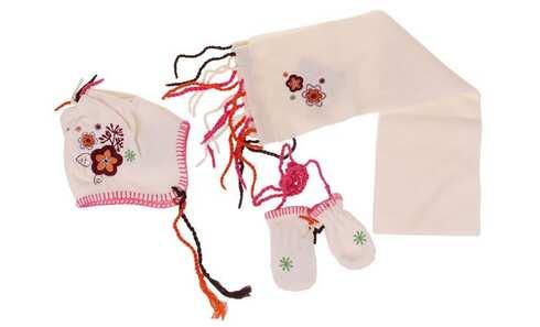 obrázok Dievčenské zimné set biely - kytička S