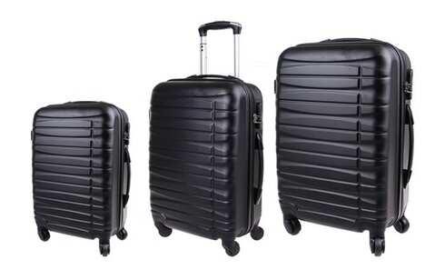 obrázok Sada 3 kufrov škrupinových čierna