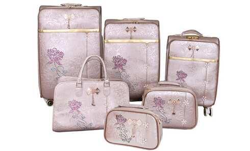 obrázek Sada 6 cestovních kufrů Luxi bílé s růží
