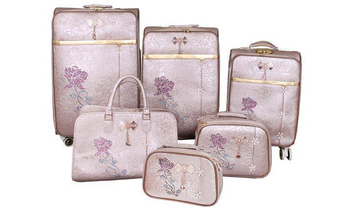 Sada 6 cestovních kufrů Luxi s růží