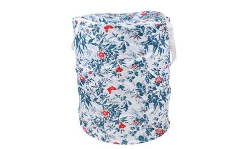 obrázek Koš na prádlo skládací bílý s kvítky