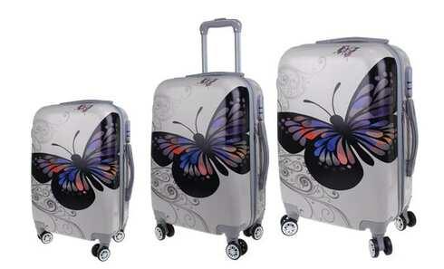obrázek Sada 3 skořepinových kufrů (Silver Butterfly)