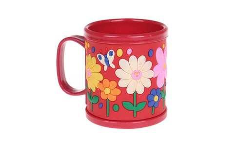 obrázek Hrnek dětský plastový (červený s květy)