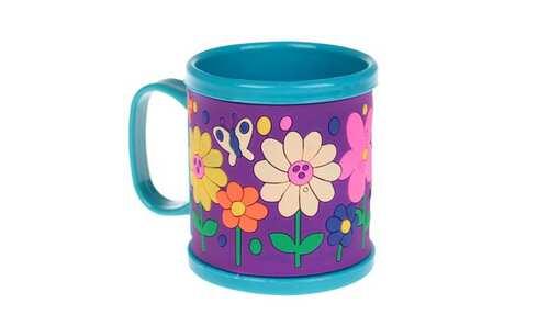 obrázok Hrnček detský plastový (modrý s kvetmi)