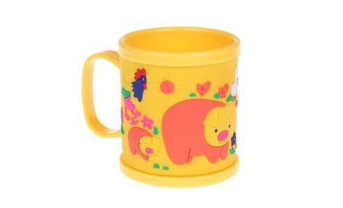 obrázek Hrnek dětský plastový (žlutý se zvířátky)