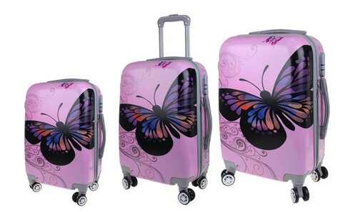 obrázek Sada 3 skořepinových kufrů (Pink Butterfly)