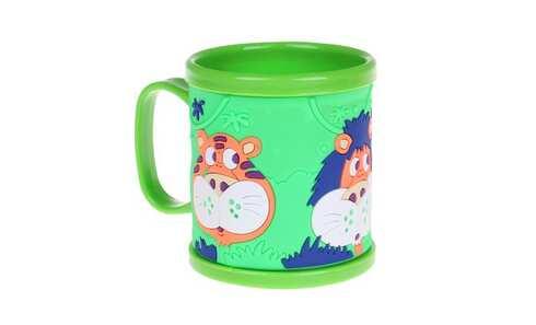 obrázek Hrnek dětský plastový (zelený se zvířátky)