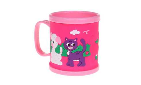 obrázek Hrnek dětský plastový (růžový s pejskem a kočičkou)