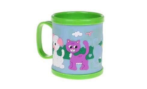 obrázok Hrnček detský plastový (zelený s psíkom a mačičkou)