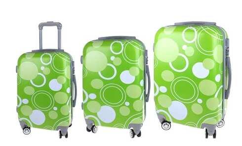 obrázek Sada 3 skořepinových kufrů (Zelené kroužky)