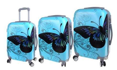 obrázek Sada 3 skořepinových kufrů (Blue Butterfly)