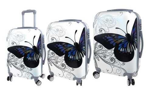 obrázek Sada 3 skořepinových kufrů (Grey Butterfly)