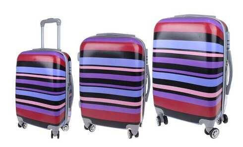 obrázek Sada 3 skořepinových kufrů (Fialové pruhy)