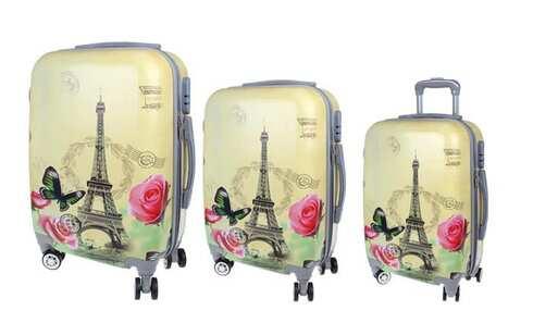 obrázek Sada 3 skořepinových kufrů (Žlutý - Eiffelovka)