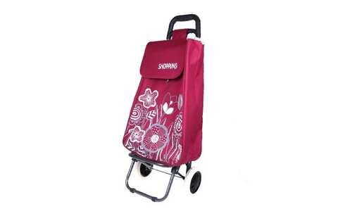 obrázek Nákupní taška na kolečkách s kytičkami - Vínová