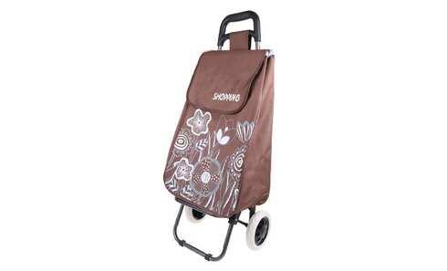 obrázek Nákupní taška na kolečkách s kytičkami - Hnědá