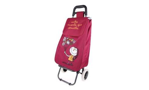 obrázek Nákupní taška na kolečkách s holčičkou - Vínová