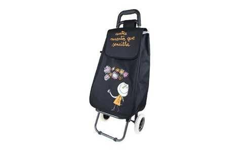 obrázek Nákupní taška na kolečkách s holčičkou - Černá