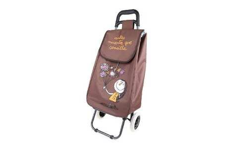 obrázek Nákupní taška na kolečkách s holčičkou - Hnědá