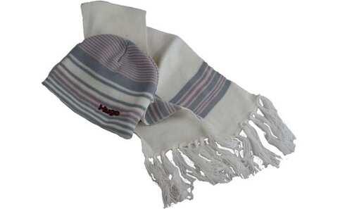 obrázek Čepice dětská zimní s šálou bílá