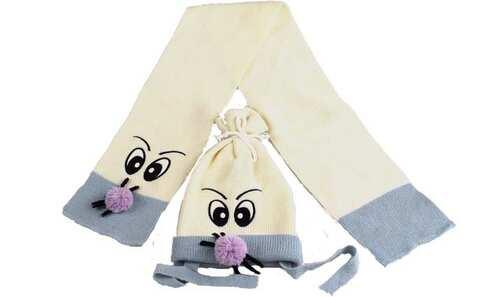 obrázok Čiapka detská zimná s šálom  smotanová
