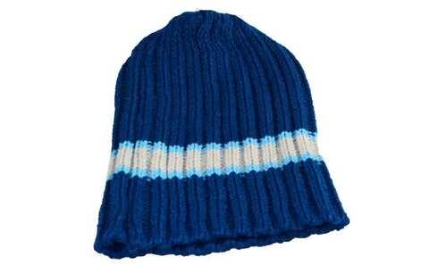 obrázok Detská čiapka pletená modrá s bielym pruhom