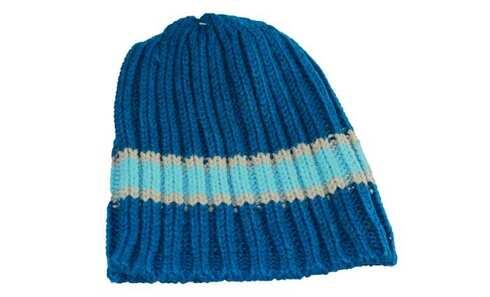 obrázek Dětská čepice pletená modrá s tyrkysovým pruhem