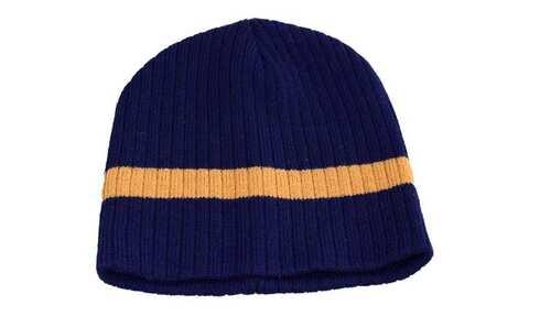 obrázek Dětská čepice pletená modrá s hnědým pruhem