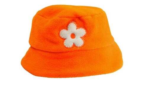 obrázek Dětská čepice fleecová oranžová s kytičkou
