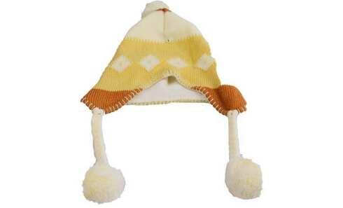 obrázek Čepice dětská zimní s bambulkami hnědá